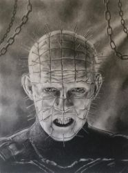Hellraiser Pinhead Charcoal Drawing by JonARTon