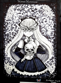 Inktober Day 31- Mask/Holiday Series '17- Hallowee by vicfania8855