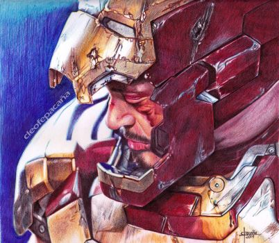 Tony Stark Colored Ballpoint Pen Drawing by cLoELaLi11