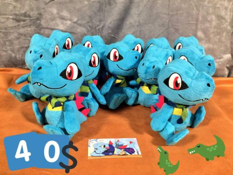 Mini PSMD Totodile Plushes for sale (40$) by SleeplessTotodile