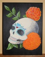 Commissioned Sugar Skull Painting by angelacapel
