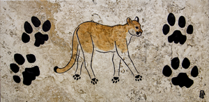 Prehistoric Style Mountain Lion painting by RobertMeyer