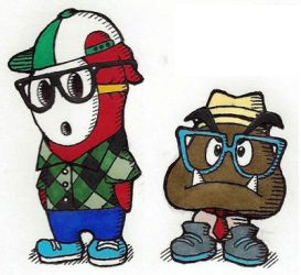 Hipster Shy Guy and Goomba by FroggyMudd