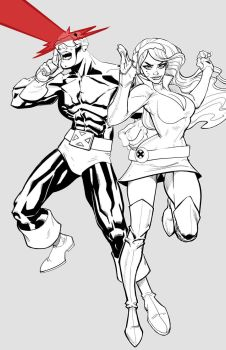 Jean Grey and Cyclops--Line by billydallaspatton