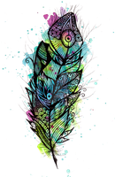 Watercolor Feather Tattoo - ZeichenbloQ.de by MarcHorn