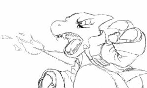 Andre The Charmeleon Attacks by DeweyousArts