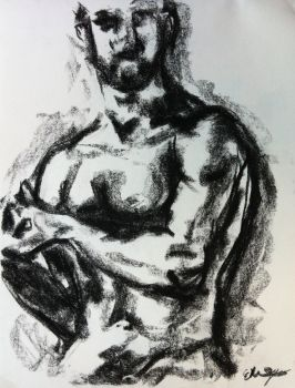 Male nude, charcoal by Sequana