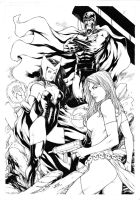 Magneto Scarlet Witch and Mystique by Leomatos2014