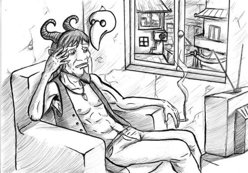 Demon watching TV by Shadow-Nexus