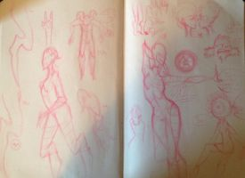 7-4-14 Sketch Page by QuirkyGalaxyDemon