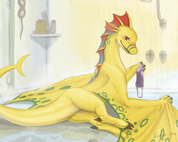 Adine in the shower by KodarDragon