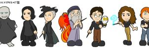 Lil' cast of Harry Potter by doppelgangergeisha