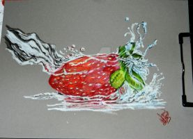 drenched strawberry by winstonscreator