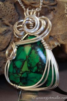 Viridian  - Green Turquoise Pendant by youvegotmaille