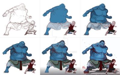 Jinbei and Ace Tutorial by inhyuklee