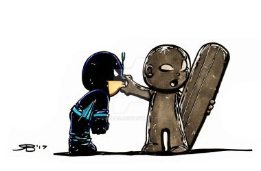 Chibi BlackBolt and Surfer by RickBas