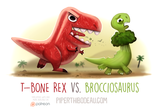 Daily Paint 1602. T-Bone Rex vs. Brocciosaurus by Cryptid-Creations