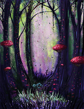 MS paint - Shroom Forest by HMB-BellyBomb