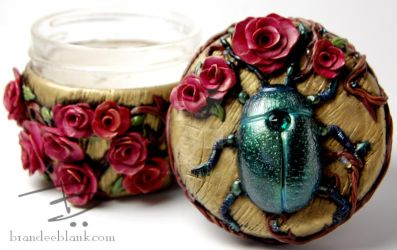 Beetle and Roses Stash Jar by TinfoilHalo
