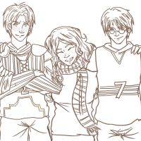 Golden Trio: Quidditch by duzie-wuzie