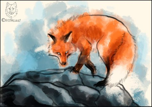 Watercolor red fox by Cristalwolf
