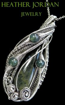 Wire-Wrapped Moss Agate Pendant in Sterling Silver by HeatherJordanJewelry
