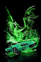 green fire camaro by Bephza