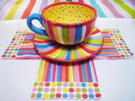 Crazy Colors Cup Saucer Set by Annortha