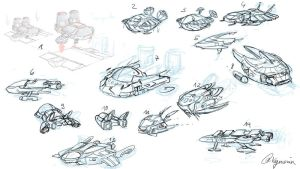 spaceship concepts by Xyncomix