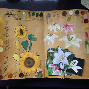 Art Journal: Sunflowers and Lillies by Alaminia