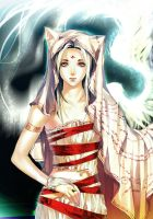 . One Winged Cat Goddess. by sakimichan