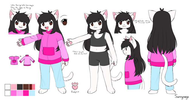 Fursona/Mascot Reference Sheet 2017 (CURRENT) by Sunnynoga
