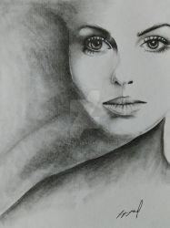 female face pencil drawing by morkedin