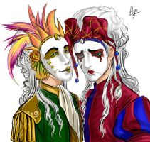 Tragedy and Comedy masks I by hojolabor