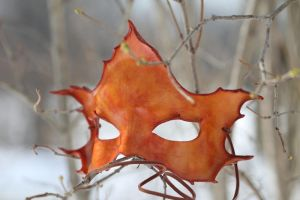 Orange Maple Leather Mask by OsborneArts