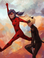 Ladybug and Chat Noir by StaticColour