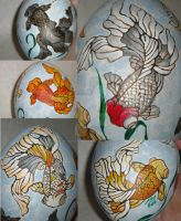 Goldfish on ostrich egg by moonbaydesigns