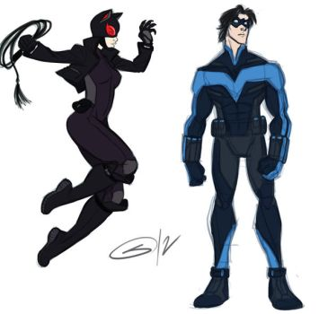 Catwoman and Nightwing by sketchmasterskillz