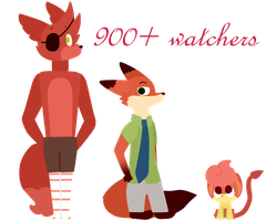 Thank you for 900+ watchers! by Cookie-and-her-foxes