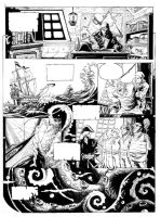 Old works: The ancient sea monster and the ship by DrManhattan-VA