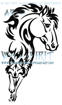Horse And Wolf Tribal Tattoo by WildSpiritWolf