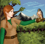 Mo and her falcon Teskisch by camir