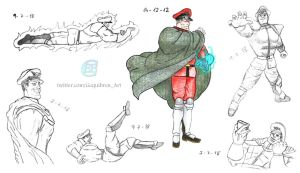 Street Fighter - Bison sketches by Fractalico