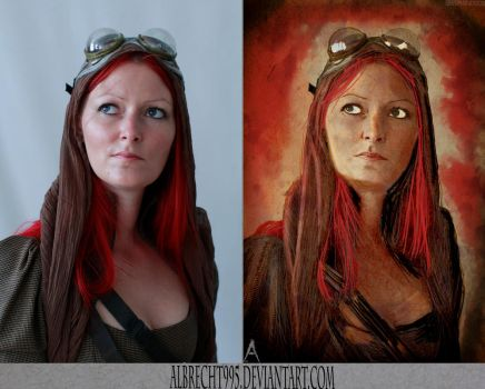 Before and After photomanip steampunk warrior by albrecht995