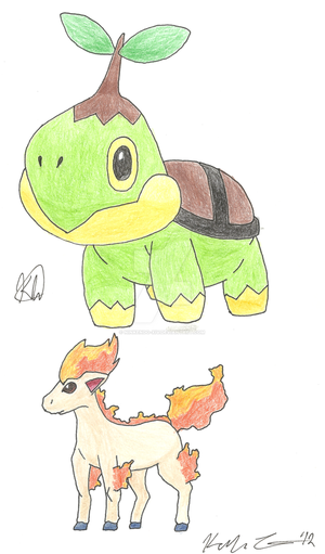 CP: Turtwig and Ponyta by ninkendo-xiv