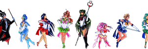 The Sailor Soldiers and Tuxedo Mask by suzux