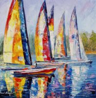 Sailboat Competition by Leonid Afremov by Leonidafremov