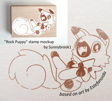 Rock Puppy Stamp Mockup based on art by estefanoid by Sunnybrook1