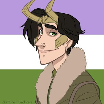 Queeroes - male!Loki + genderqueer flag by DKettchen
