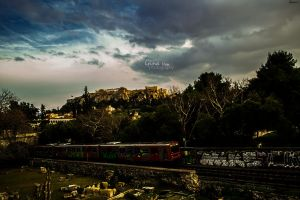 Urban transport crossing through ancient ruins by ginavd